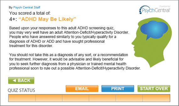 ADHD Screening Quiz Results