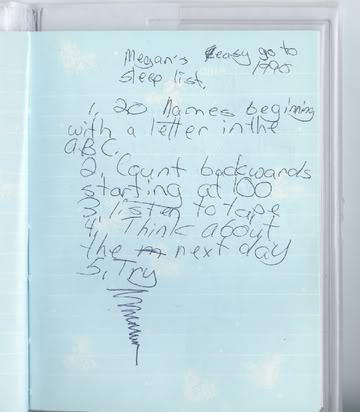 Megan's Easy Go To Sleep List 1990