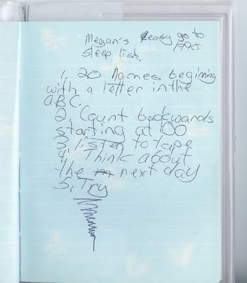 Megan's Easy Go To Sleep List 1990