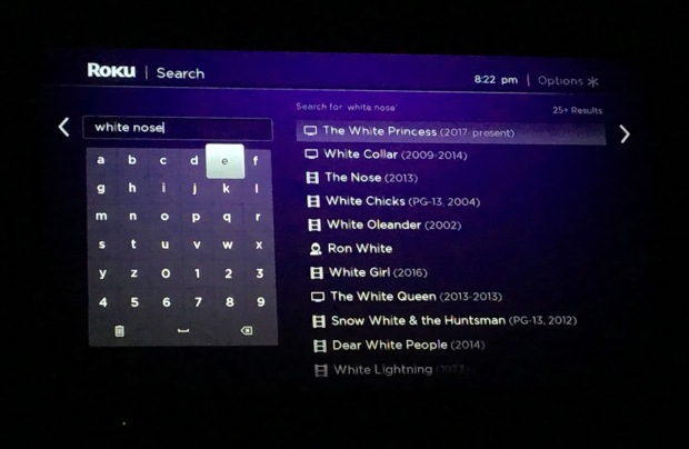 Roku search white nose